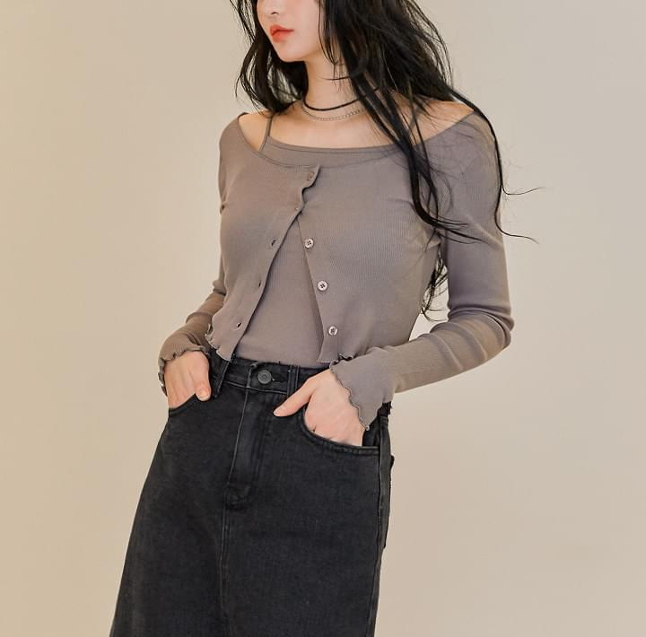 Sleeveless Top and Cropped Cardigan SetWITH CELEBRITY _ BINNIE