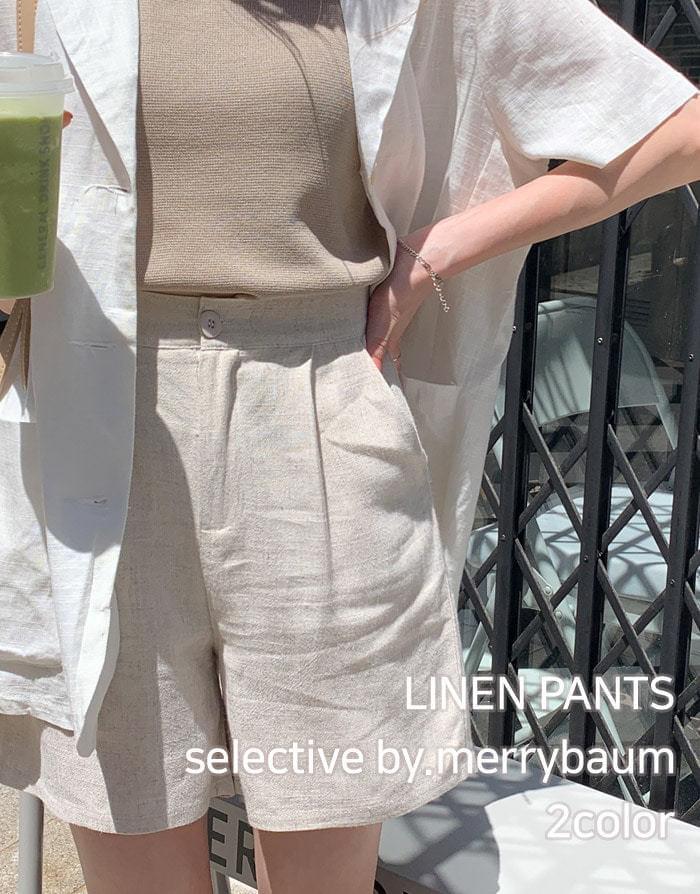 Cumming pintuck linen banding short pants