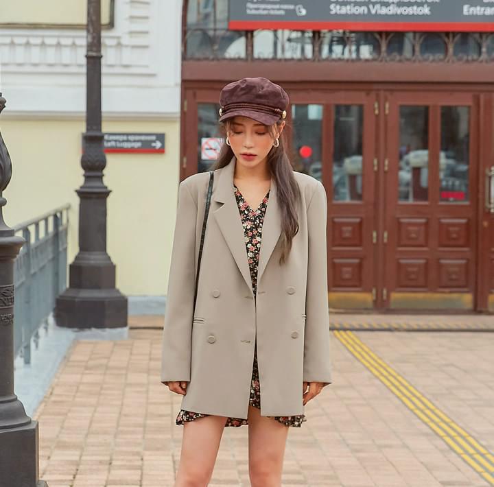 寬鬆附腰帶雙排釦西裝外套
