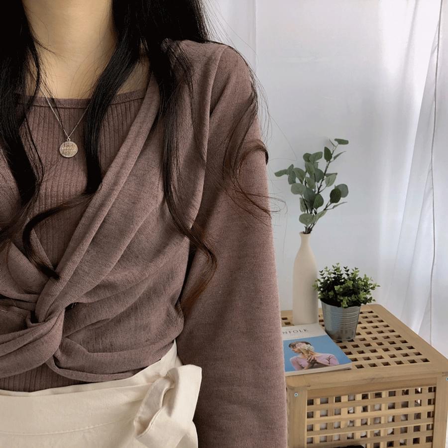 Linen Twist T-Shirt & Sash SET Cardigan & Vest