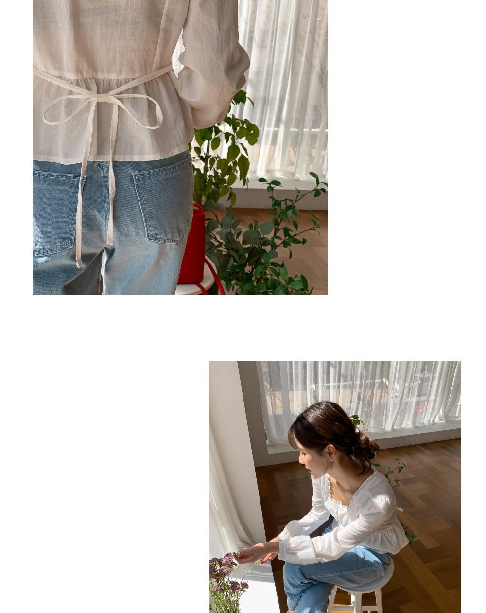 Ruffle square neck shirring blouse