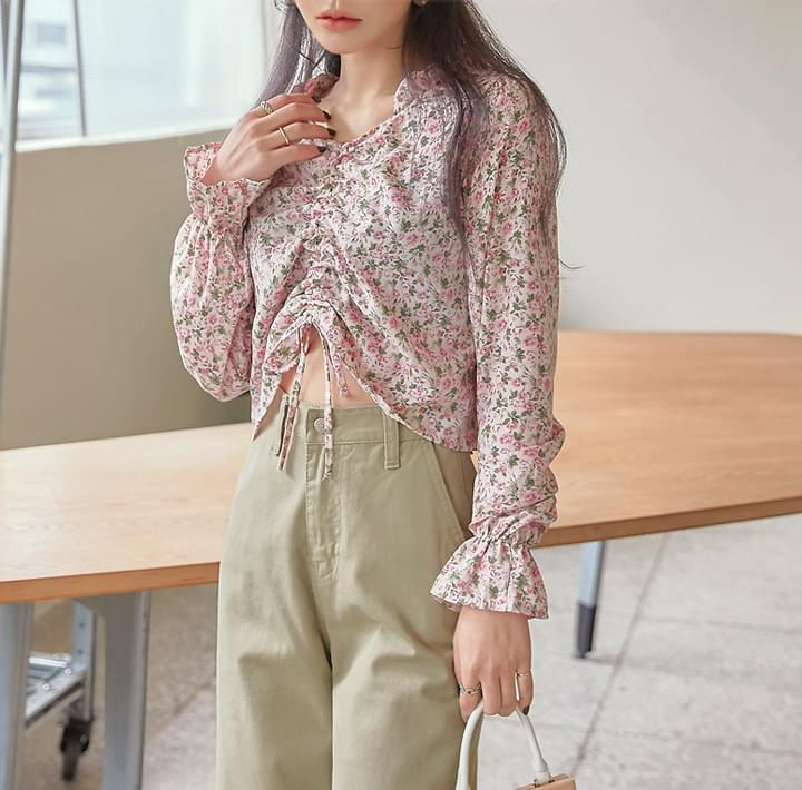 LILIK ROSE FRILL STRING CROP BLOUSE