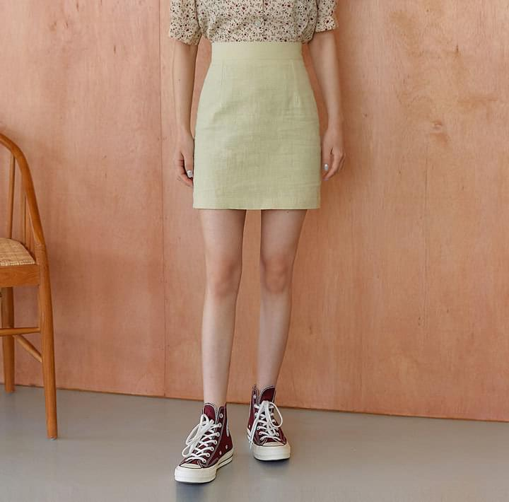 GRASS LINEN A LINE MINI SKIRT