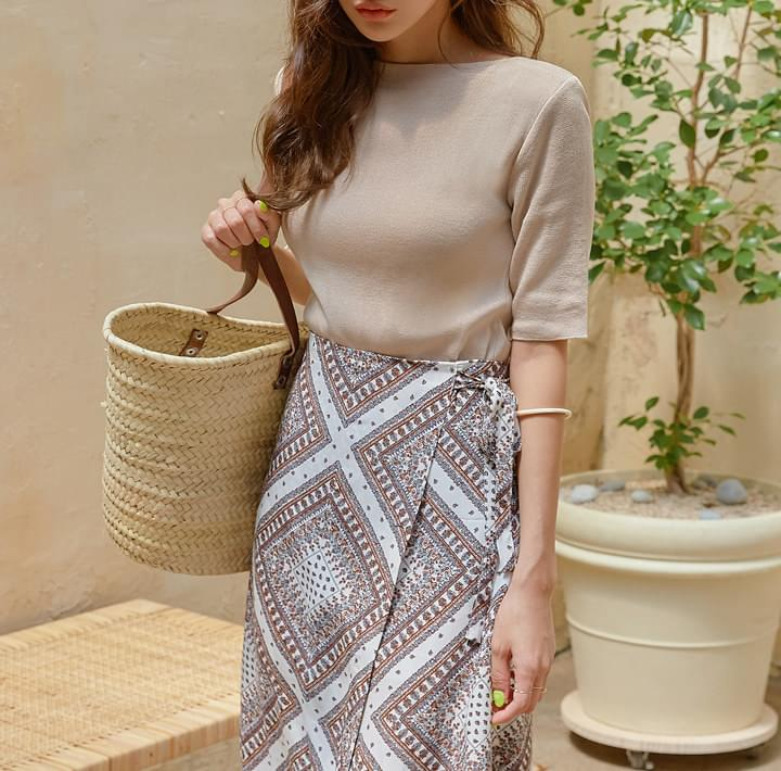 6 COLOR LERRY BOAT NECK 1/2 KNIT