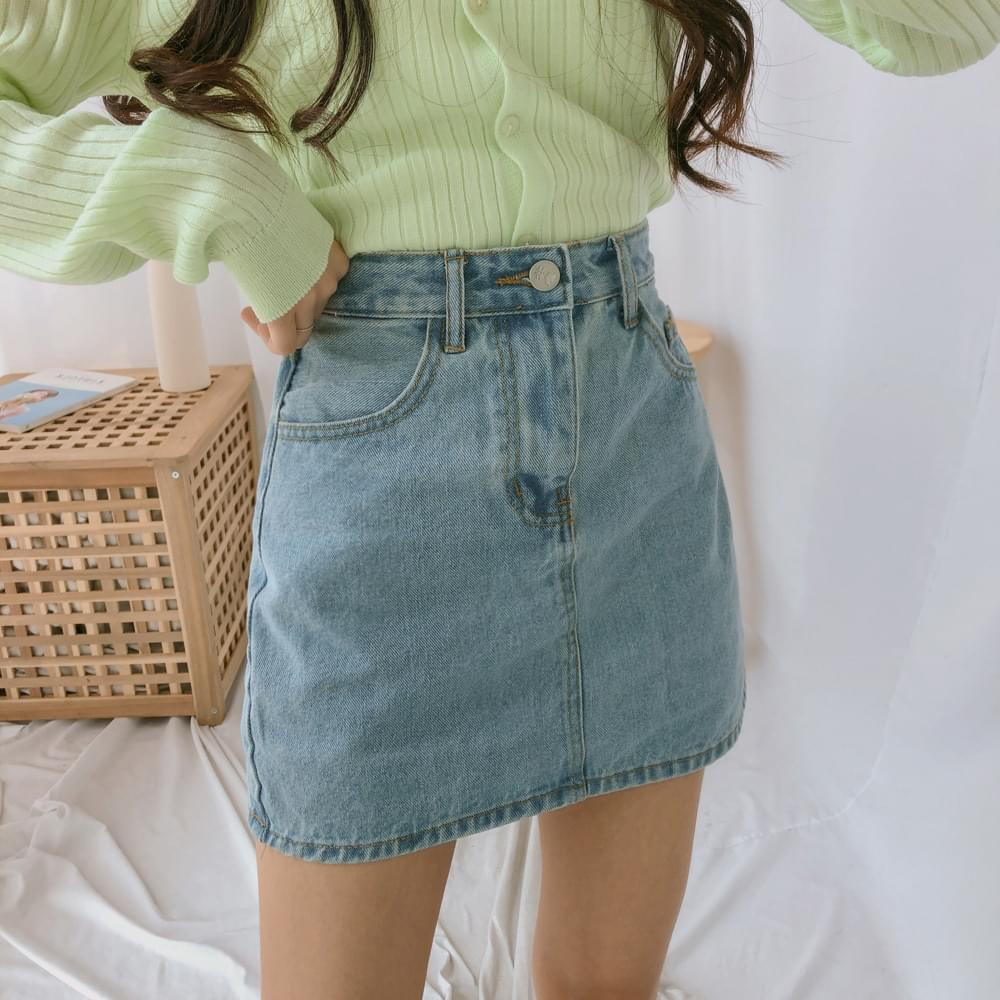 8256 basic mini denim skirt