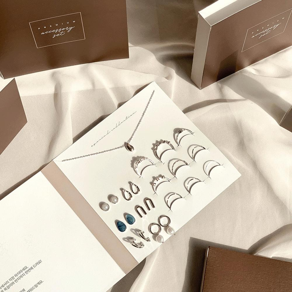 Triple card lettering week earrings accessories set