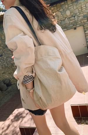 Natural linen shoulder bag 帆布包