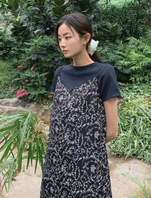 Flower Pattern Bustier Long Dress