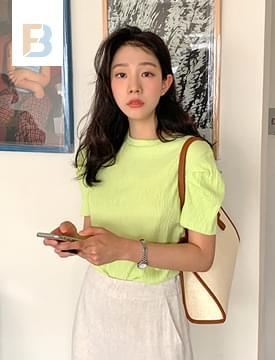 韓國空運 - Isabel Wrinkle Shirring Putty 短袖上衣