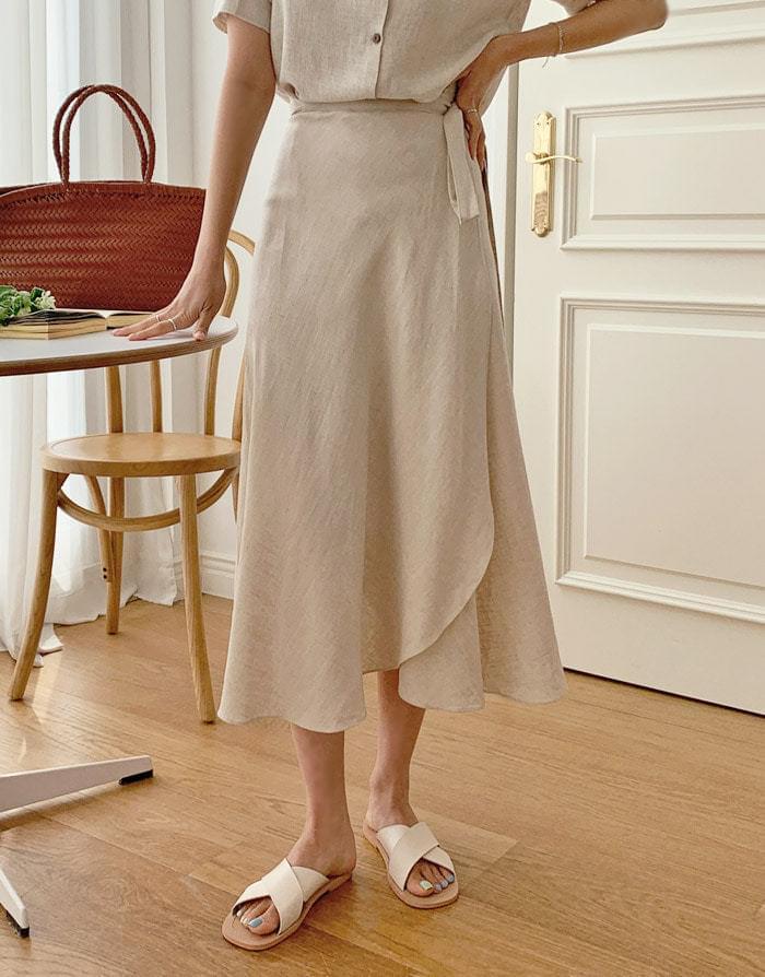 Take linen long wrap skirt