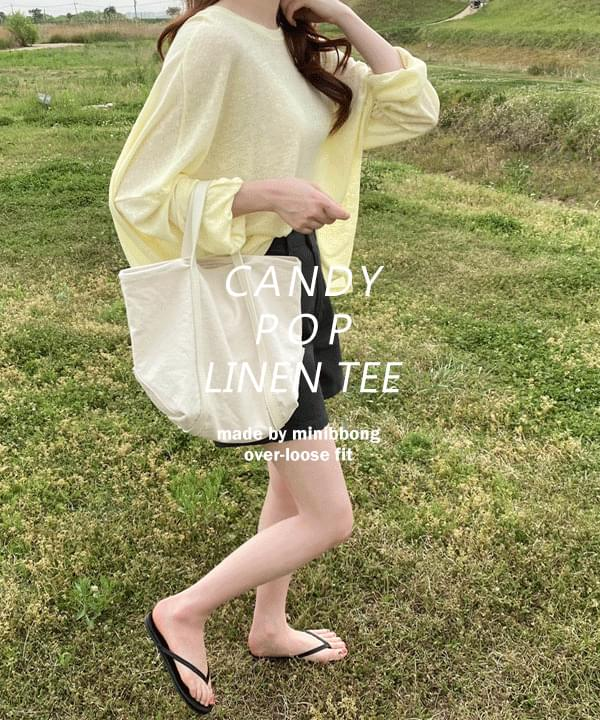 韓國空運 - Candy Pop Overfit Summer Linen T-shirt-Coral Orange Same Day Shipping 長袖上衣