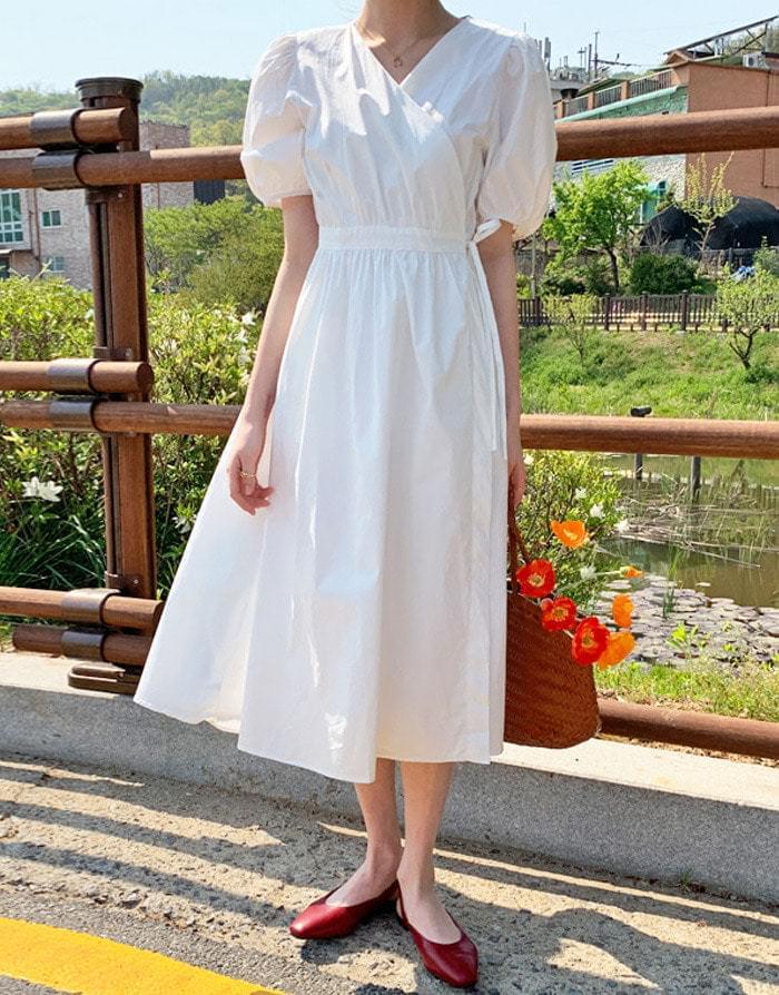 Sophie Puff Wrap Long Dress