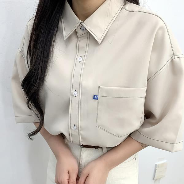 Color stitching short sleeve shirt