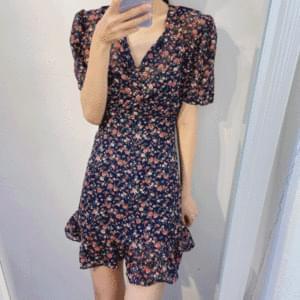 Flower frill mini dress