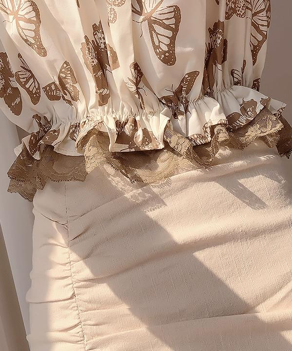 Butterfly lace off shoulder blouse