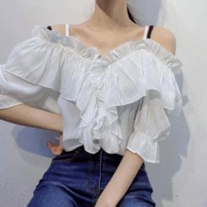 Ruffle off shoulder short sleeve blouse