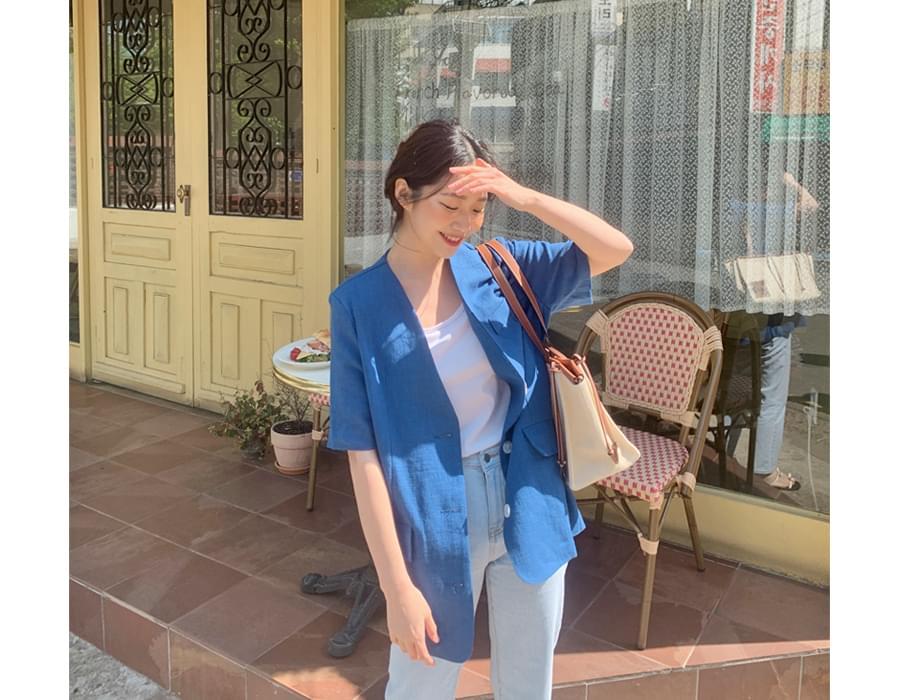 Trendy no-cara linen short sleeve jacket