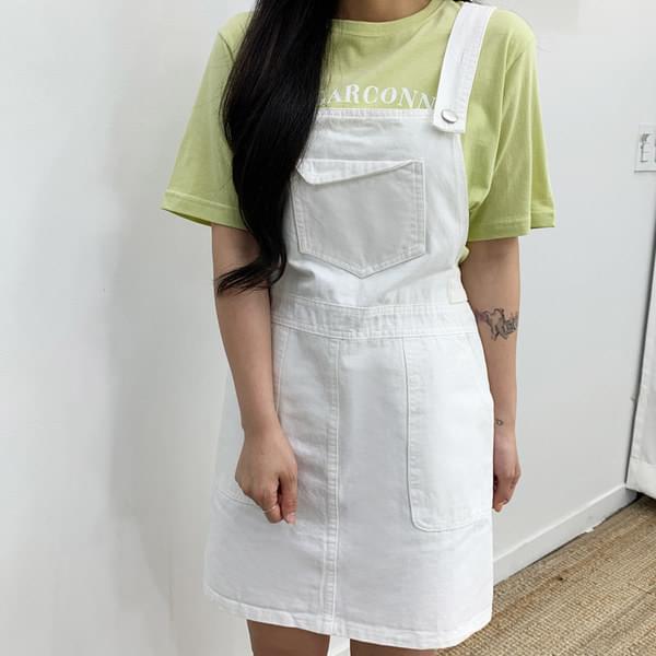 Front pocket Yomi suspenders skirt 裙子