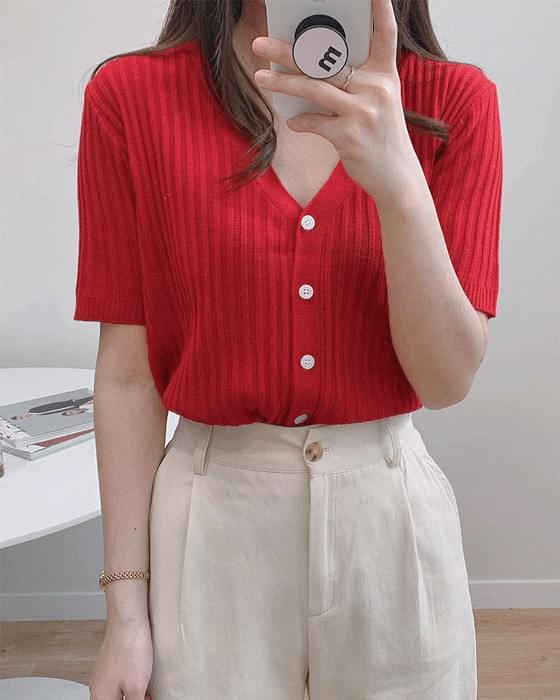 반팔 골지 v knit cardigan - 6color