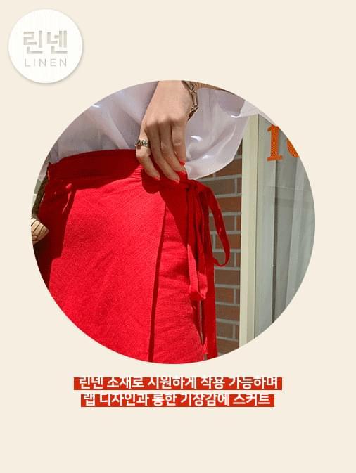 Linen refresh wrap long skirt