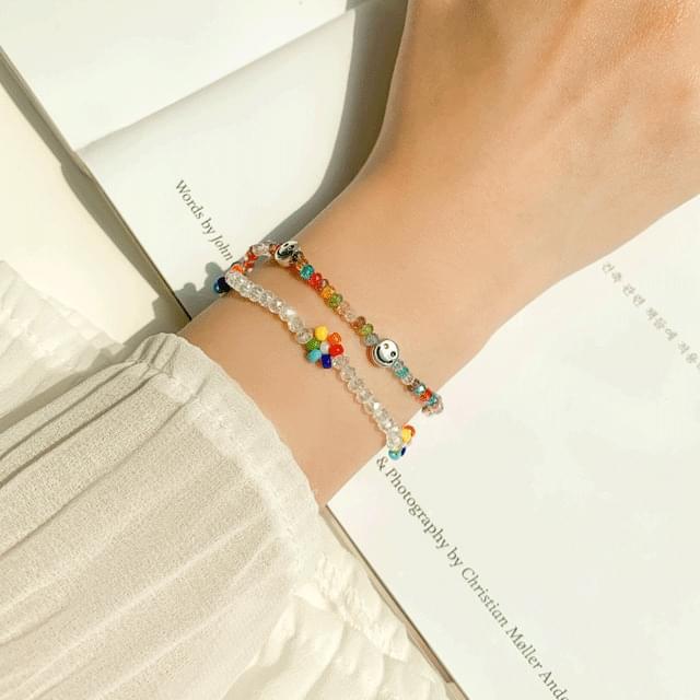 Beads silver smile bracelet 2color