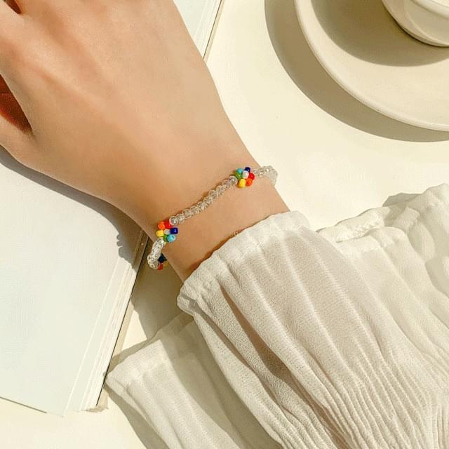 Beads Flower Bracelet 2color