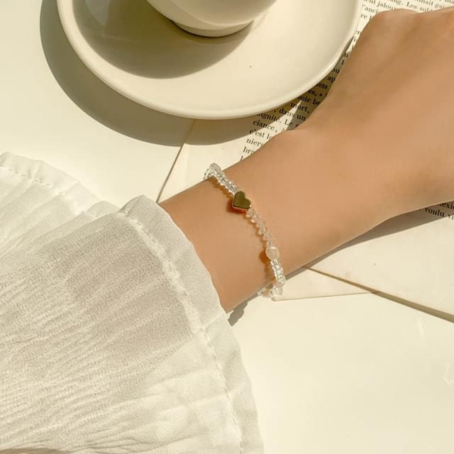 Transparent beads pearl gold heart bracelet