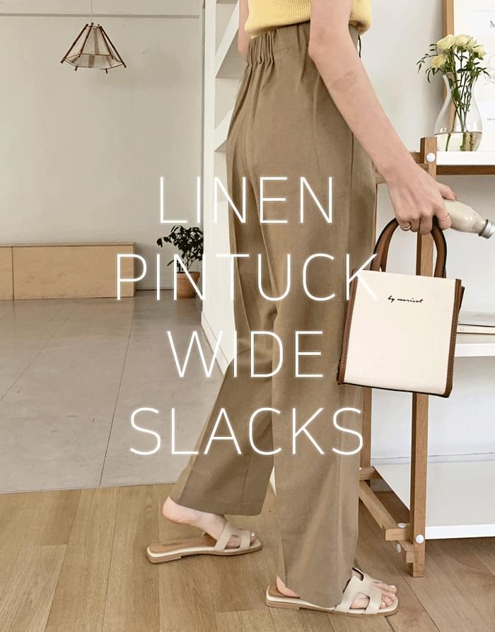 Elvin Linen Pintuck Wide Slacks