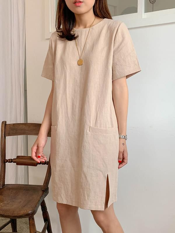 Slit pocket linen dress