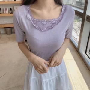 Vintage lace sash + 쫀쫀 t-shirt set