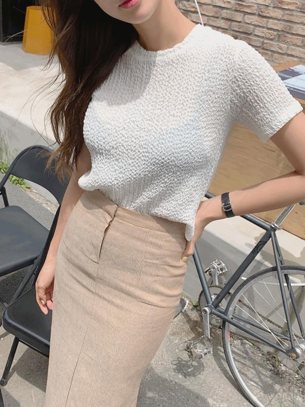 韓國空運 - Pleats Crop T-shirt 短袖上衣