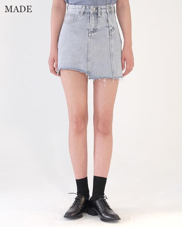 Special plan) Unbalanced cut denim skirt