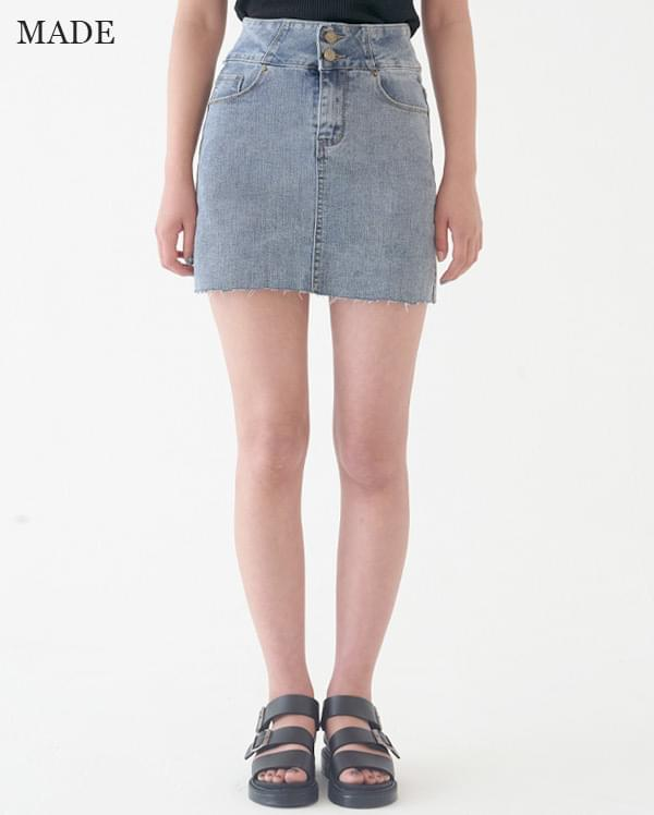 Special price) Two-button basic denim skirt