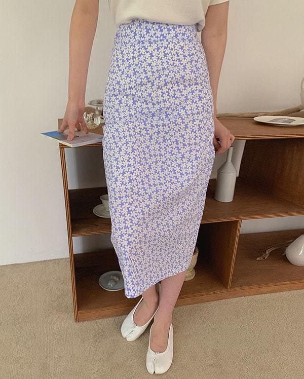 Ramie flower long skirt