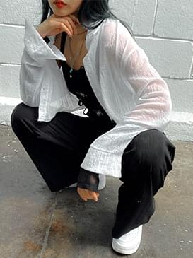 See-through Shallow Crop Shirt 襯衫