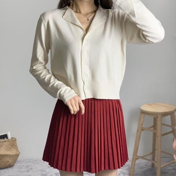 Double collar V-neck knit cardigan Cardigan & Vest