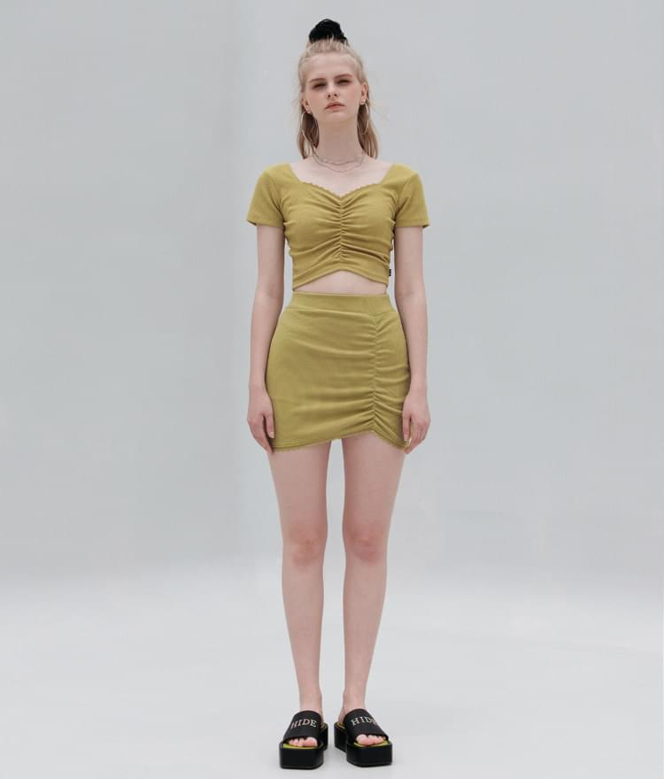 HIDE Lace Crop Top (Olive)HIDE Lace Skirt (Olive)SET
