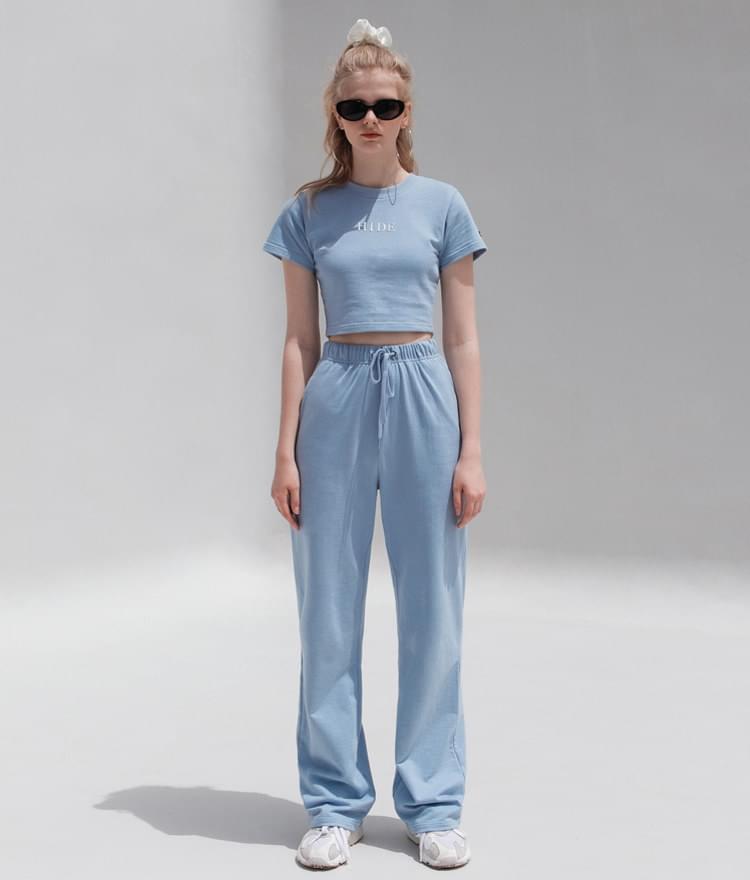 HIDE Mirror Crop Top HIDE Mirror Wide Pants (Sky Blue)SET