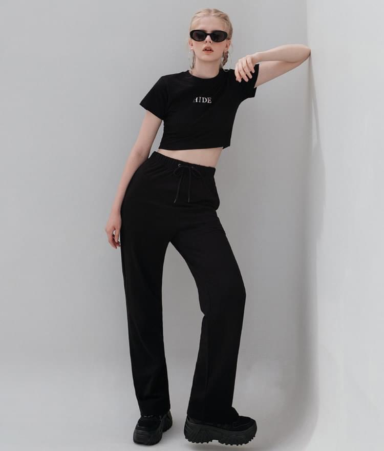 HIDE Mirror Crop Top HIDE Mirror Wide Pants (Black)SET