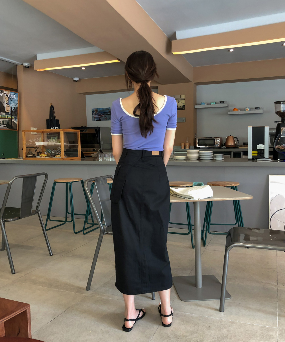 Unique diagonal cut long skirt