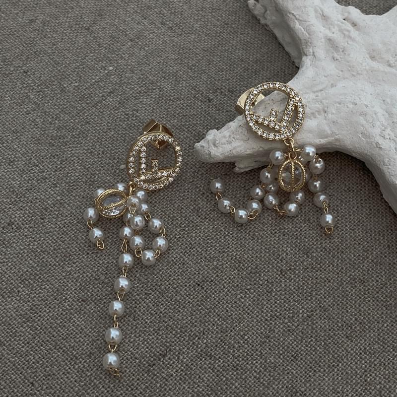 1852 drop pearls cubic earrings
