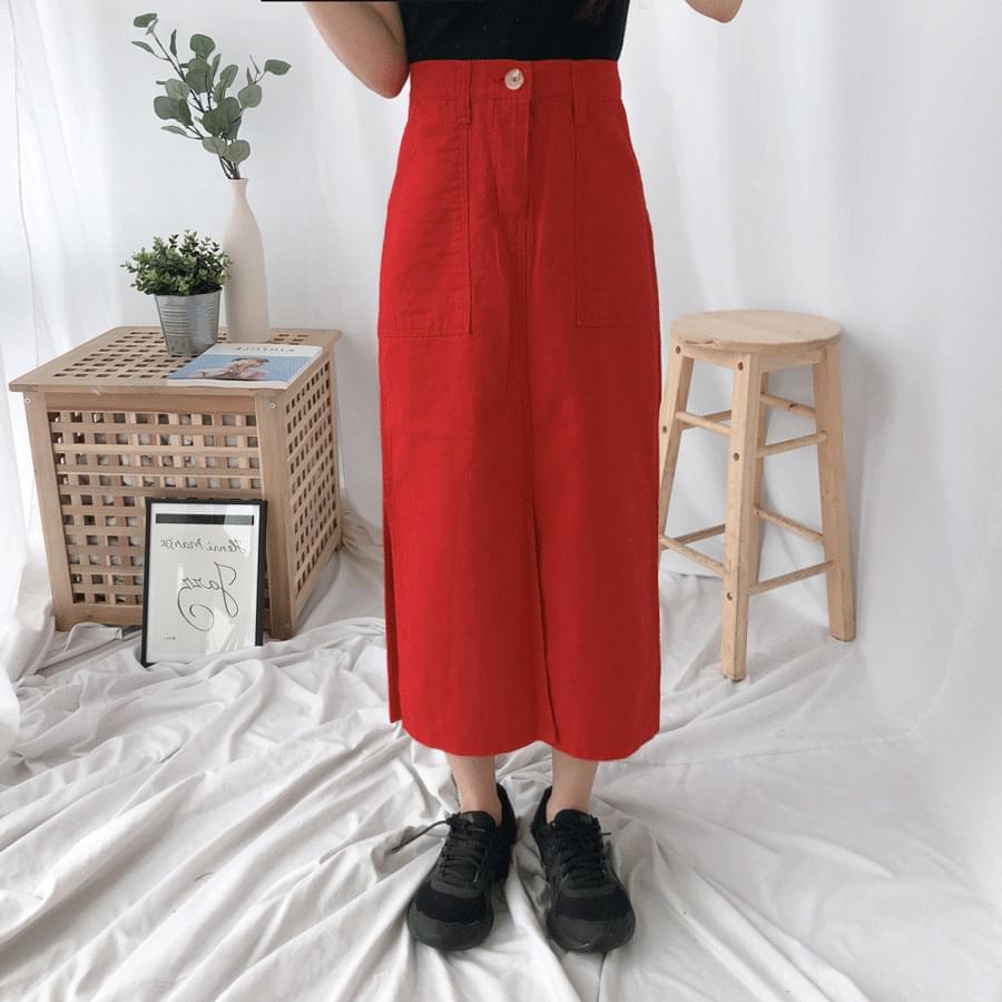 631 Linen slit long skirt スカート