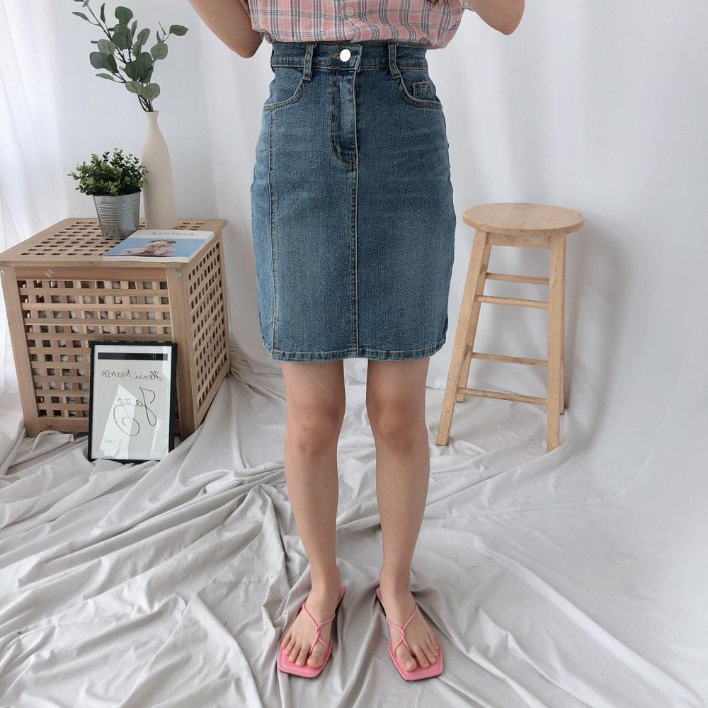 548 incision washed dark denim skirt スカート