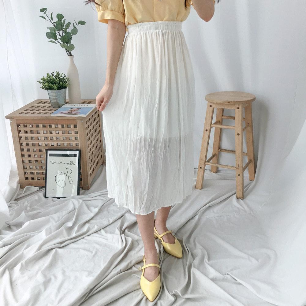 Pretzel-pleated chiffon skirt スカート