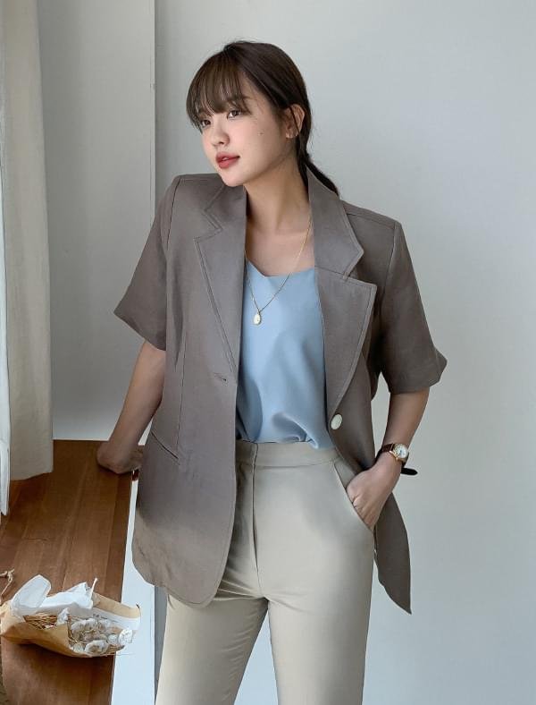 Semi-overfit linen short sleeve jacket jacket
