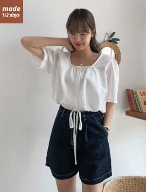 Square neck string cropped blouse 襯衫