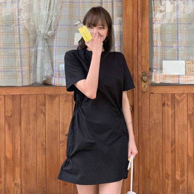 Unique Side Shirring Mini Dress