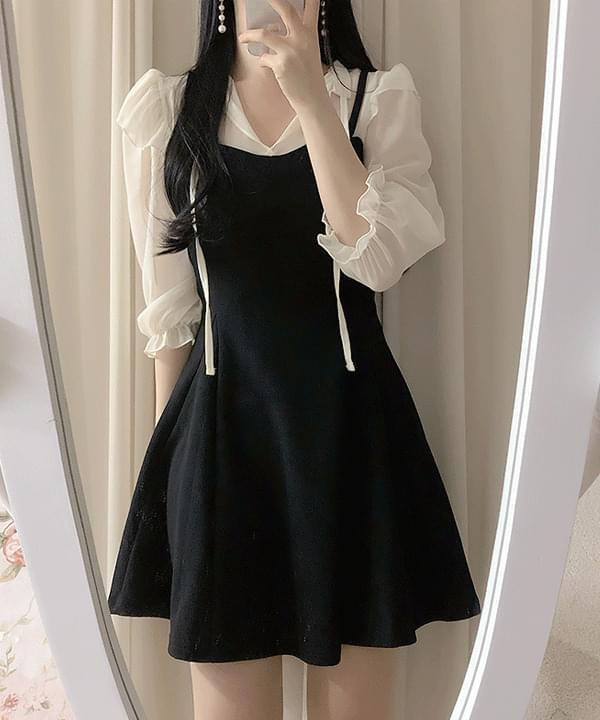 領綁結荷葉肩袖拼接短洋裝