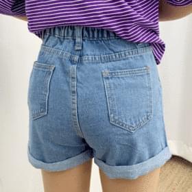 Kids back banding denim short pants