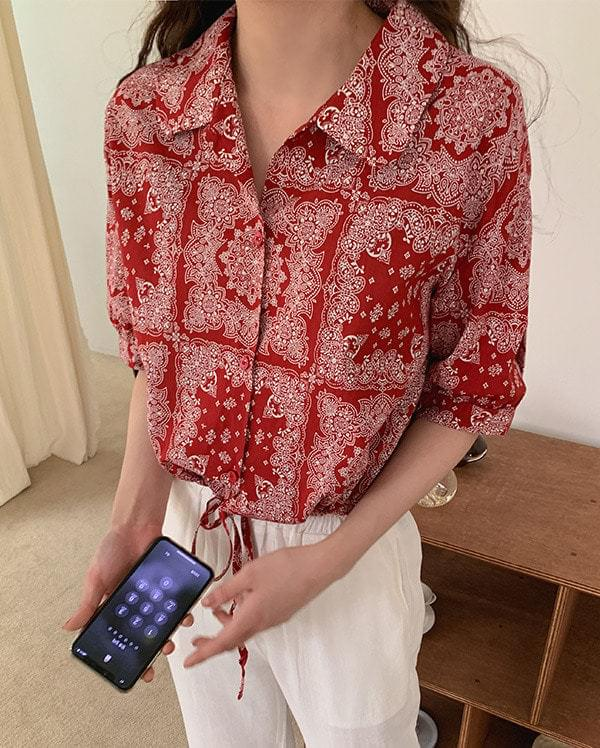 Paisley string cropped blouse